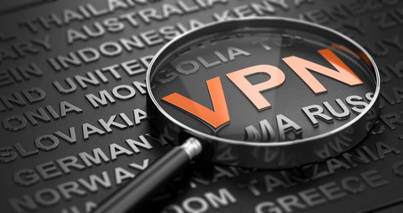 Focus On The Word VPN, Virtual Private Network And Countries Names.