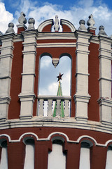 Architecture of Moscow Kremlin. Kutafya tower. Popular landmark. Color photo.