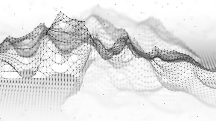 Abstract wireframe landscape. Abstract mesh landscapes. Polygonal mountains. 3D illustration.