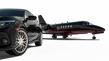 rich lifestyle transportation vehicles / 3D render image representing rich lifestyle transportation vehicles
