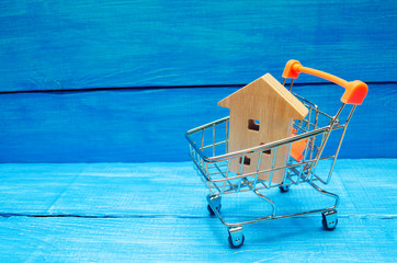 Property investment and house mortgage financial concept. buying, renting and selling apartments. real estate. Wooden house in a Supermarket trolley. credit, affordable housing for young families.