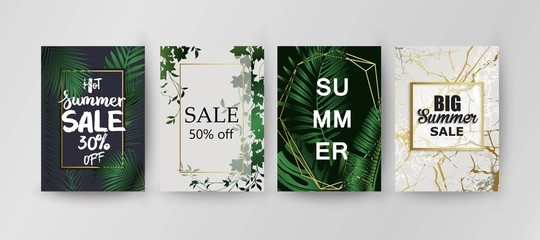 Sale background template. Exotic palm leaves card.