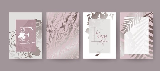 Pink marble texture, flowers and palm leaves card design.
