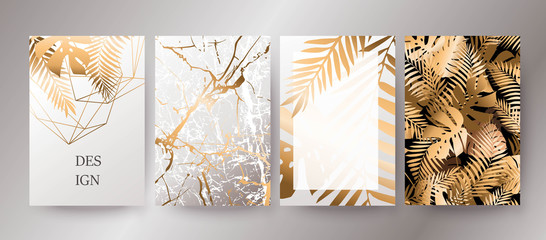 Golden marble texture and gold palm leaves card design.