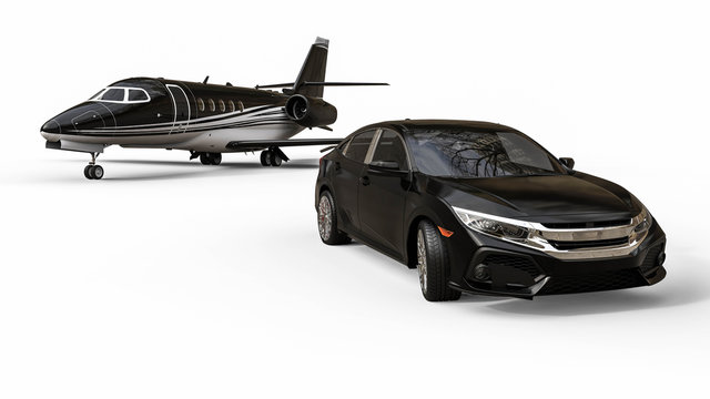 Luxury transportation / 3D render image representing an luxury airplane with a limo