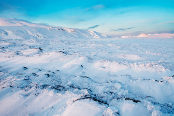 Layers of snow on a beautiful Winters day in Iceland