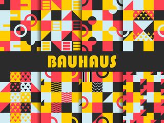 Seamless geometric pattern set. Bauhaus design. Background memphis style of the 80s. Vector illustration