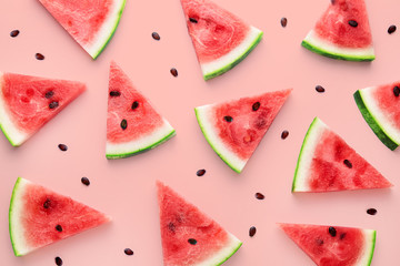 Watermelon slices pattern viewed from above. Top view. Summer concept. Wall mural