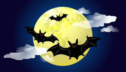Bats flying against moonlight at night vector illustration. Halloween background. For websites, wallpapers, banners or posters