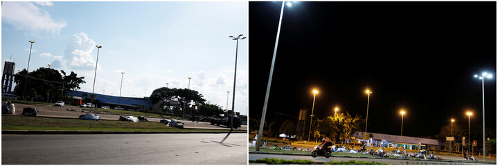 Combination picture shows (L-R) belongings of Venezuelan people on the grass in front of interstate Bus Station in Boa Vista, Roraima state, Brazil August 24, 2018 and Venezuelan people sleeping on the grass during the night in Boa Vista