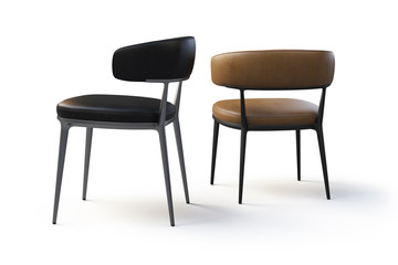 Brown and black leather chairs with metal legs. 3d render