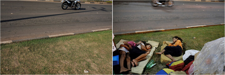 Combination picture shows (L-R) a Brazilian man riding his motorcycle in front of interstate Bus Station in Boa Vista, Roraima state, Brazil August 24, 2018, and Venezuelan children sleeping on the grass in front of interstate Bus Station in Boa Vista