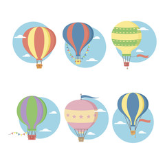 Retro vintage hot air balloons vector flat icons set