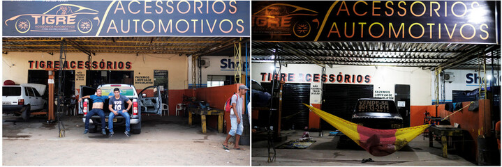 Combination picture shows (L-R)  Brazilian men sitting on a car as they wait to be attended in the car repair shop, near the interstate Bus Station in Boa Vista, Roraima state, Brazil August 24, 2018 and Venezuelan man sleeps on a hammock in Boa Vista