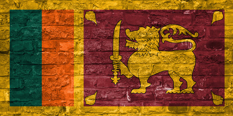 Flag of Sri Lanka over an old brick wall background, surface