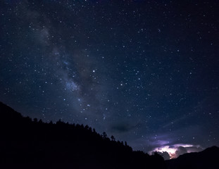 lightning and milky way