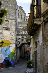 street view with flower pots in Apulia region. Grottaglie, Apulia