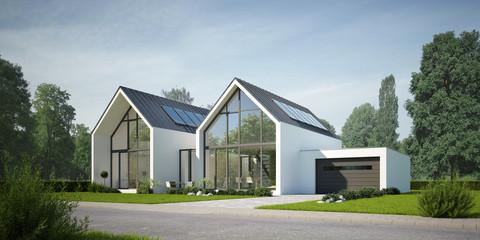 Doppelhaus Zinkdach weiss