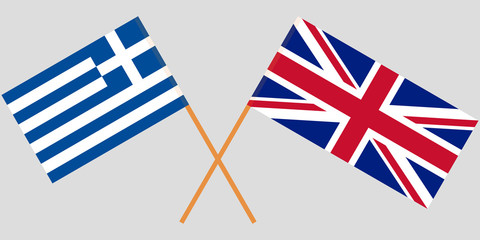 Greece and UK. Crossed Greek and United Kingdom flags. Official colors. Correct proportion. Vector