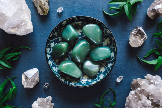 Green Aventurine and Quartz on Blue Table