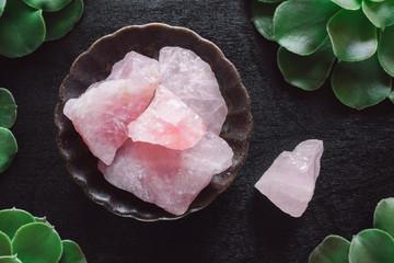 Rose Quartz Crystals and Succulents