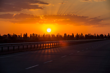 sunrise on the road