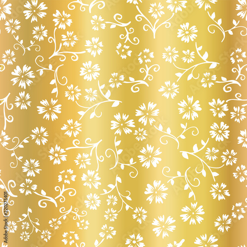 Gold Foil Flower Vector Seamless Pattern Background Elegant White