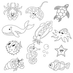 Outline sea animals. Vector. Isolated.