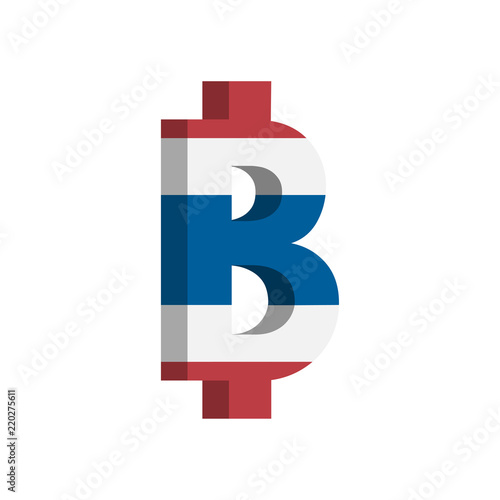 Thai Baht Thb Currency Symbol With Flag Vector Stock Image And