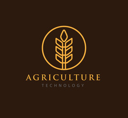 simple agriculture technology with abstract wheat symbol vector logo design