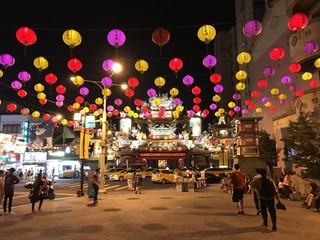 Lampions on street in Taipei, Taiwan Fotomurales