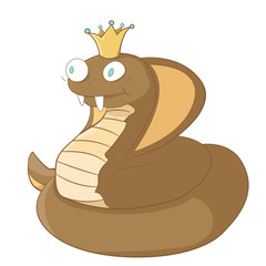cartoon king cobra with crown on head