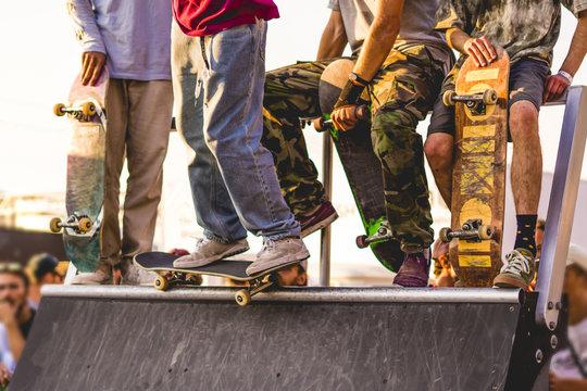 urban city man doing extreme skate tricks on ramp