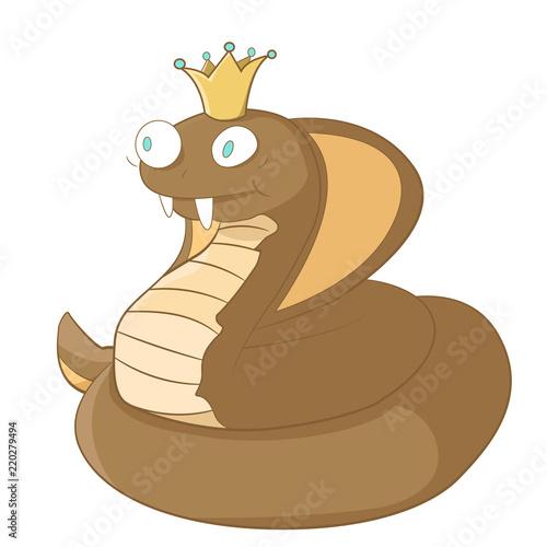 Happy king cobra cartoon stock vector illustration