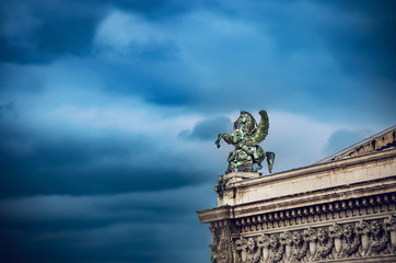 France, Paris, winged horse statue on the roof of the Opera Garnier, cinematic color style