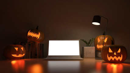 3d rendering image of working table with pumpkin head