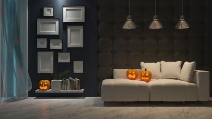 3d rendering image of interior design in halloween festival. Pumpkin head on sofa, Trick or thread.