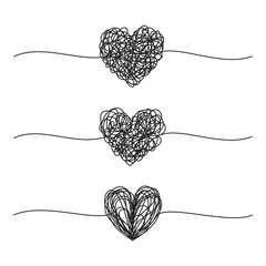 Set of three tangled grungy heart scribbles