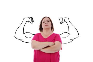 femme forte avec muscles dessinés