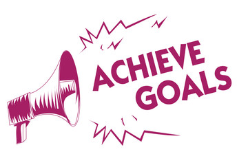 Conceptual hand writing showing Achieve Goals. Business photo showcasing Results oriented Reach Target Effective Planning Succeed Purple megaphone important message screaming speaking loud