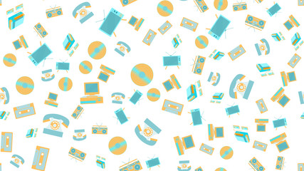 The texture is a seamless pattern of old vintage retro electronics technology from televisions, cassette tape recorders, vinyl records, computers, game consoles, phones from the 70's, 80's, 90's