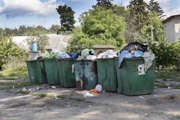 garbage cans, garbage dump