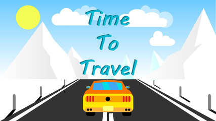 A yellow sports fast car roadster rides along an asphalt road into the mountains and an inscription time to travel. Road trip. illustration