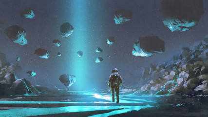 Deurstickers Grandfailure astronaut on turquoise planet with glowing blue minerals, digital art style, illustration painting