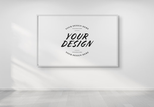 Isolated Rectangular Frame on Wall Mockup