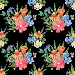 Seamless pattern with groups of wild summer flowers - camomile, cornflower, forget-me-not, cosmos, leaves, watercolour illustration on black background. Seamless watercolor pattern with wild flowers