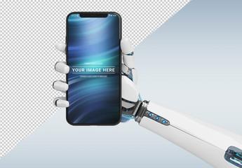 Smartphone in Robot Hand Mockup