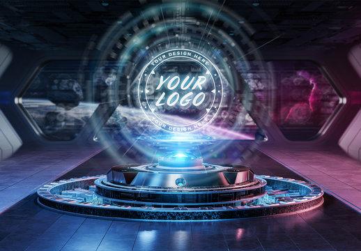 Futuristic Logo Projection Mockup