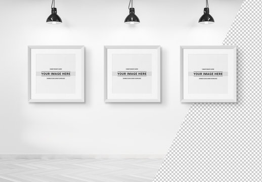 Three Square Frames Isolated on a Wall Mockup