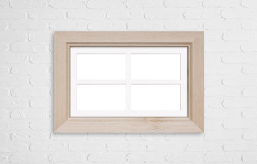 Wooden photo frame mock up, four pictures collage on white bricks wall